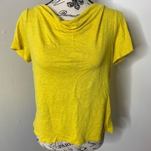 MAEVE | Anthro Yellow Cowl Neck Open Back Top